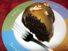 Chocolate Cake with Peanut Butter Glaze...tastes just like a Reese's Peanut Butter Cup!