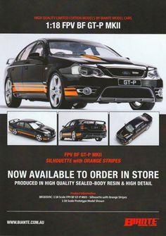 FPV BF GT-P MKII in Silhouette with Orange Stripes from Biante. This model is produced in resin, it does not have opening parts. Comes with certificate of authenticity. This model is due quarter of Authenticity, Certificate, Resin, Stripes, Silhouette, Orange, Model, Scale Model