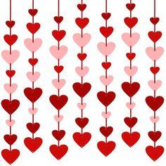 Hanging Garland, Felt Garland, Diy Garland, Hanging Hearts, Valentine Crafts For Kids, Valentines Day Party, Valentine Heart, Valentine Banner, Diy Valentine's Day Decorations