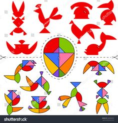 Vetor stock de Vector Tangram Egg Geometric Puzzle Collection (livre de direitos) 683868250 Animal Crafts For Kids, Art For Kids, Visual Perceptual Activities, Tangram Puzzles, Origami Patterns, Cube Pattern, Puzzles For Kids, Kids Health, Math Games