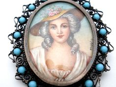 This antique hand painted miniature portrait silver pendant/brooch. This masterpiece is extremely elegant and the subject is just beautiful. The detail of the portrait is remarkable and is artist signed! | eBay!