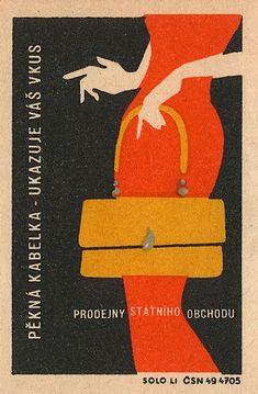 Mid century modern Eastern European matchbox label