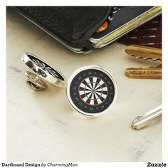 Sterling silver plated lapel pins with a unique dartboard design.