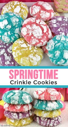 Springtime Crinkle Cookies - light and fluffy on the inside - sweet and crunchy . Springtime Crinkle Cookies - light and fluffy on the inside - sweet and crunchy on the outside with a hint of lemon Easter Cookie Recipes, Easter Cookies, Easter Treats, Easter Food, Easter Baking Ideas, Easter Dinner Ideas, Easy Easter Desserts, Easter Stuff, Deserts For Easter