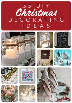 35 DIY Christmas decorating ideas {Christmas and Winter Decor} Merry Little Christmas, All Things Christmas, Winter Christmas, Christmas Holidays, Christmas Gifts, Christmas Projects, Holiday Crafts, Holiday Fun, Christmas Ideas