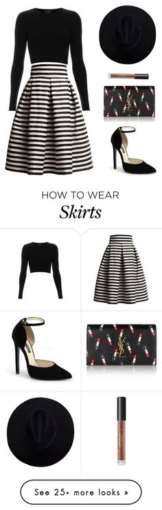 How to wear skirts featuring Rumour London, Topshop, Yves Saint Laurent and Lipstick Queen Mode Outfits, Skirt Outfits, Casual Outfits, Fashion Outfits, Striped Skirt Outfit, Winter Outfits, Stripe Skirt, Grunge Outfits, Holiday Outfits