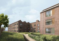 Care home . Public Space Design, Architecture Visualization, Facade, The Neighbourhood, Brick, Mansions, House Styles, Interiors, Home