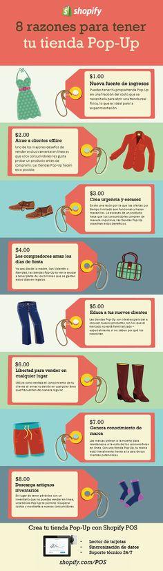 8 razones para tener una tienda Pop-Up. Infografía en español. #CommunityManager