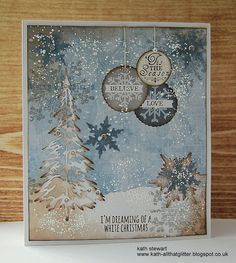 Simon Says Stamp Monday Challenge...Let There Be Snow 12 December 2016 using Kaisercraft Frosted Paper Pad and Collectables Elements, Tim Holtz/Sizzix Woodlands Thinlits and BigZ Die Stacked Snowflakes,Stampers Anonymous Mini Weathered Winter