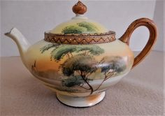 Nippon Moriage Hand Painted Teapot & Creamer with a Scenic Motif (Maple Leaf Mark) Pottery Teapots, Tea Pot Set, Teapots And Cups, How To Make Tea, Green Trees, Lush Green, Geometric Designs, China Porcelain, Vintage Antiques