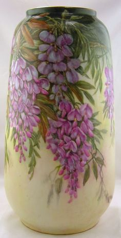 Hand Painted Porcelain Vase With Wisteria and Leaves on a very pale green background by Margaret Surber