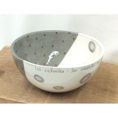 Saladier 24 cm / Gris, Points Rouges et Crayonnages