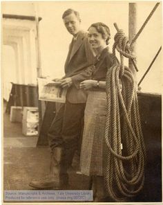 """Charles A. Lindbergh and Anne Morrow Lindbergh. Atlantic Survey Flight. On board the """"Jelling. The Manuscripts and Archives Digital Images Database (MADID)"""