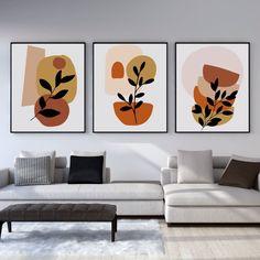 Minimalist Painting, Minimalist Art, Home Wall Art, Wall Art Decor, Diy Wall Painting, Easy Canvas Art, 3 Piece Wall Art, Botanical Wall Art, Living Room Art