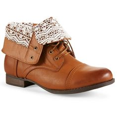 Aeropostale Crochet Combat Fold-Over Boot ($25) ❤ liked on Polyvore featuring shoes, boots, ankle booties, zapatos, low heel boots, fold-over combat boots, foldover boots, foldover combat boots and low heel booties