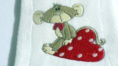 Sock Monkey  Burp Cloth Embroidery Polka Dots Red Heart  Valentine