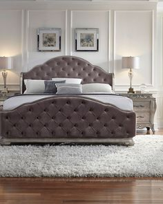 Bella Terra Tufted King Bed, Chambourd - Neiman Marcus