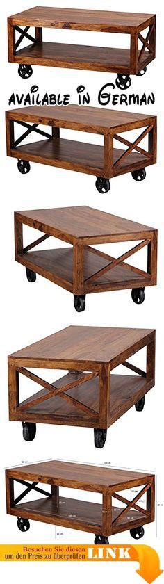 B00MQ9ZUZ8 : WOHNLING Couchtisch Massiv Holz Sheesham 110 Cm Breit  Wohnzimmer Tisch Design Dunkel