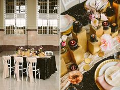 The unique table centerpiece was constructed out of gold blocks that varied in height and acted as a pedestal for the florals + candles. The gold geometric accent plates sat atop pink satin napkins and a glittering black sequin tablecloth.