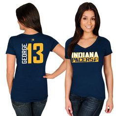fa6fcc58f Paul George Indiana Pacers Majestic Women s Name  amp  Number V-Neck T-Shirt