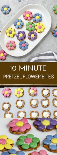 Pretzel Flower Bites are very easy to make, with just 3 ingredients and only tak. Pretzel Flower Bites are very easy to make, with just 3 ingredients and only take 10 to 15 minutes to make. Easter Deserts, Easter Snacks, Easter Lunch, Easter Treats, Easter Recipes, Birthday Treats, Easter Salad, Easter Dinner, Birthday Parties