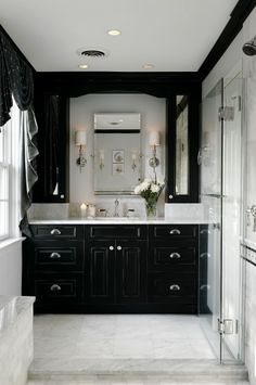 Black and White Bathroom Curtain, Tile and wallpaper | Pichomez.com 2012 | Architecture | Home Design | Interior and Decorating Ideas