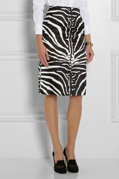 Carven|Zebra-print silk-blend pencil skirt