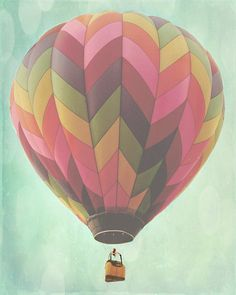 Hot Air Balloon Art- I would love to use this design as our template for the magazine clippings