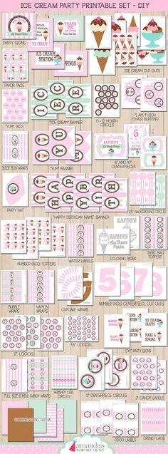 Ice Cream Party Printable Ice Cream by AmandasPartiesToGo on Etsy
