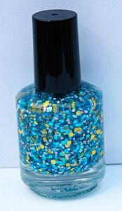 The Shorter, The Better by Love, Angeline. Just like a denim skirt it is sure to please! It is a gorgeous combination of glittery teal dots and matte yellow and grey hexes.