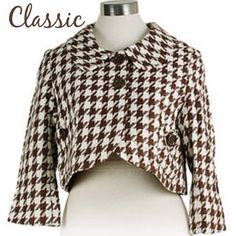 Tulle Cropped Houndstooth Jacket Super cute jacket! Brought from a fellow posher. I thought it was black and cream not brown and cream  so it did not match what I bought it for. Excellent condition! Paid $40 so asking $40 but will take offers! Anthropologie Jackets & Coats