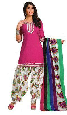 USD 26.71 Pink Printed Cotton Punjabi Suit 40397