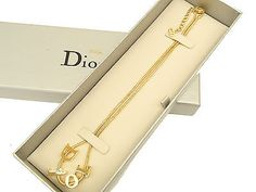 Auth Christian Dior Necklace Gold Plated with Dior Symbol Logos Pendant 3.27 - http://designerjewelrygalleria.com/christian-dior/auth-christian-dior-necklace-gold-plated-with-dior-symbol-logos-pendant-3-27/
