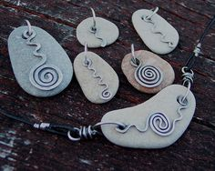 pendants These are pretty easy to do if you are a jewelry maker/beader; they look great with some type of organic rope/stringThese are pretty easy to do if you are a jewelry maker/beader; they look great with some type of organic rope/string Rock Jewelry, Glass Jewelry, Stone Jewelry, Metal Jewelry, Beaded Jewelry, Handmade Jewelry, Stone Bracelet, Handmade Leather, Leather Jewelry
