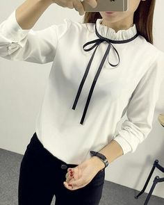 Ad a contrasting ribbon to your favorite white blouse for the hottest trend! Cute Blouses, Blouses For Women, Blouse Styles, Blouse Designs, Formal Tops, Chiffon Shirt, Office Outfits, Street Style, Korean Fashion