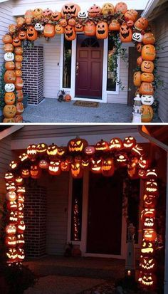 26 Best Halloween decoration ideas Pumpkin decoration for front door. Halloween porch decoration with pumpkin. Halloween spooky party decoration for front porch. Humour Halloween, Halloween Tags, Holidays Halloween, Halloween Pumpkins, Halloween Crafts, Happy Halloween, Halloween Party, Halloween 2018, Halloween Cosplay