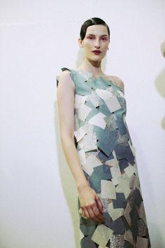 Glitter post-it style detailed dress at Jonathan Saunders AW14 LFW. More images at: http://www.dazeddigital.com/fashionweek/womenswear/aw14