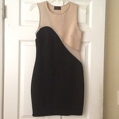 Black & Nude Bodycon Dress Black and nude bodycon dress with mesh inserts. Great for a night out with the girls! Only worn once.   Open to reasonable offers! Dresses