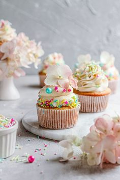 These Eggs Free Cupcakes are easy to make, require simple pantry ingredients and are the perfect pairing for sweet flavorful ice cream buttercream. |#cupcakesrecipe #cupcakes #vanillarecipe #eggsfreerecipe #eggsfreecupakes #egglesscupckaes #egglesscupcakesrecipe #eggsfreevanillacupcakes #icecreambuttercream #easycupakerecipe #nomixercupcakesrecipe #nomixerdessert #noeggsdessert |