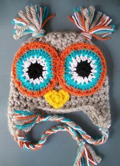 Love these colors. Baby Boy Crochet Owl Animal Beanie Hat SIZE 12 by wadamska… Crochet Animal Hats, Crochet Owl Hat, Crochet Kids Hats, Crochet For Boys, Cute Crochet, Crochet Crafts, Crochet Projects, Knitted Hats, Knit Crochet