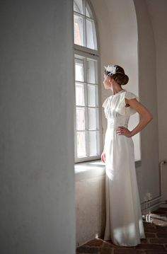 1920s styled bridal gown made by the bride