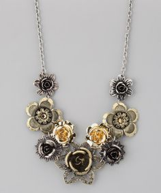 Take a look at this Silver & Gold Flower Bib Necklace by ZAD on #zulily today! $12 !!