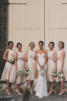 Beige Bridesmaids / Mat & Alicia: Chic Warehouse Wedding / Real Wedding / Photographed by Courtney Illfield / View full post on The LANE