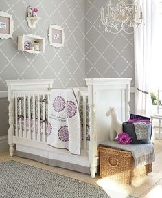 adore this grey and lilac nursery - the walls, shelves, basket, white giraffe... For a girl