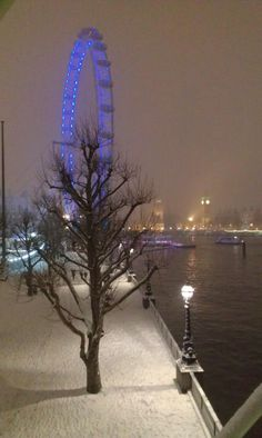 Snowy London night