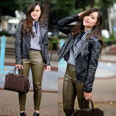 "Gaby Gómez MODA CAPITAL - Sheinside Blouse, Givenchy Bag, Zara Pants, Stradivarius Leather Jacker - ""Gingham blouse"""