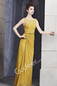 yellow sleeveless sheath floor length long designer dress with boat neckline