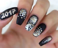 Bright Colors For New Year Nails New Year nails; cute New Year nails; New Year coffin nails; easy New Year nails; New Year nails designs; New Years Nail Designs, New Years Nail Art, New Years Eve Nails, Black Nail Designs, Nail Art Designs, Gold Designs, Nails Design, Design Design, Black Nails