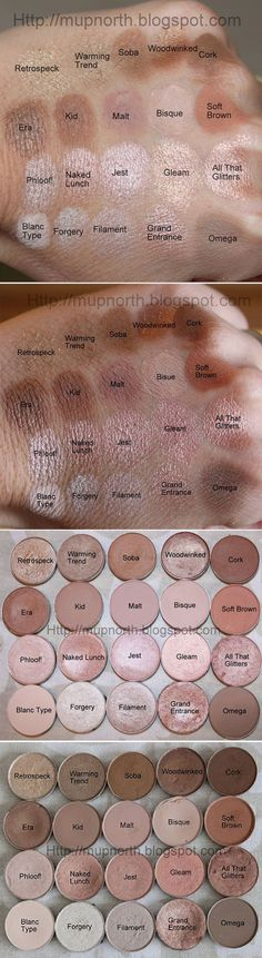 Mac eyeshadow swatches.