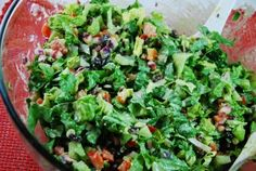 Southwestern Salad with Creamy Cilantro Dressing � 5 Points   - LaaLoosh